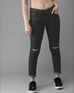 Damage Green Cotton Slim Fit Jeans For Women