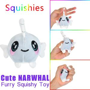 Duang Duang Furry Squishies Narwhal Foamed Stuffed Slow Rising Toys Stress Relief Toy Props
