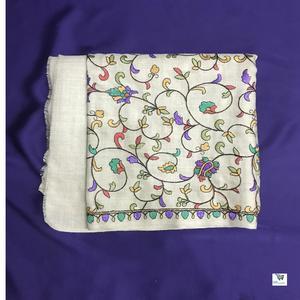 High Quality Kashmir Paper Machie Pashmina Shawl Brown Color for Ladies Latest Design