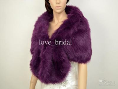 NEW-Women-Faux-Fur-Shoulder-Shawl-Purple