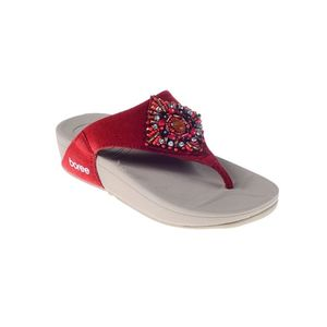 Maya Traders Maroon Suede Leather Slippers for Women - RR149