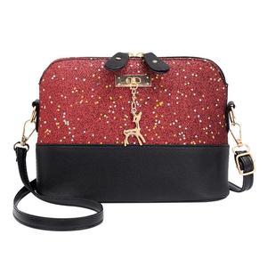 Sunborui Shell Shoulder Handbag Women Sequin Lady PU Leather Crossbody Messenger Bag