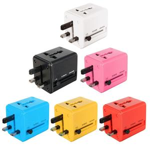 Universal World Plug Travel Adapter Converter With Dual USB Charger AU/US/UK/EU black