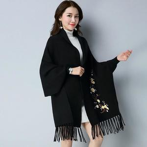Designer Black Flower Shawl For Women