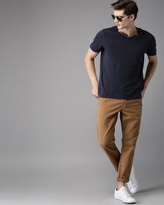 Men Brown Slim Fit Solid Chinos