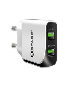 SPACE Wc-110 - Dual Port Usb Wall Charger - White