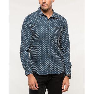 Denizen Blue and White Cotton Woven Shirt for Men