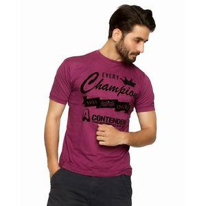 Purple Cotton Champion T-Shirt For Men