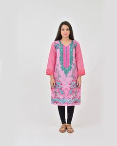 dOrhni Casuals Pink & Sea Green Summer Print Embroidered Kurti for Women