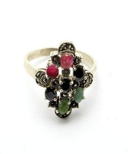 Emerald Sapphire and Ruby Stone Silver Ring GB(5)4388