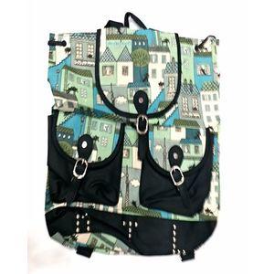 Black Canvas Printed School Bag For Girls