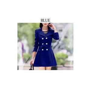 Navy Blue Trench Double Button Ladies Coat for Winter