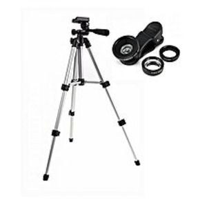 QURESHI STOREPack Of 2 - Wt3110A Portable Mobile Phone Tripod Stand + 3In1 Mobile Lens - Black