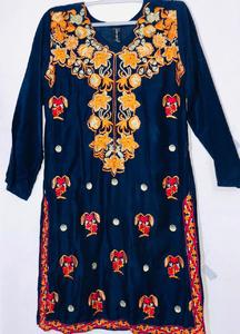 Blue with Multicolor - Stylish Embroidered Shirt/Kurta For Women - Stitched