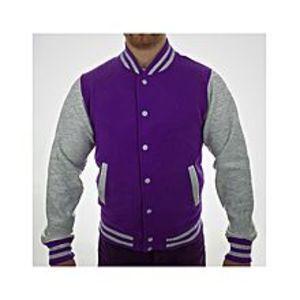Jack Beos Purple and Hazel Grey Baseball Fleece Versity Jacket for Men