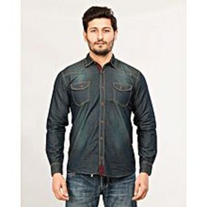 Daraz Fashion Green Men's Long Sleeve denim shirt