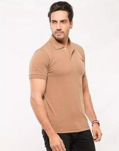 Brown Poly-Cotton Polo T Shirt