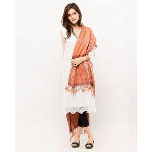 Orange Border Pashmina Shawl
