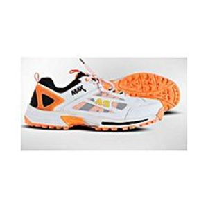 AS Sports White & Orange Cricket Shoes - Rubber Sole - MAX