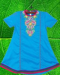 Dark Ferozi Cotton Embroidered Kurta For Girls - Gs-209