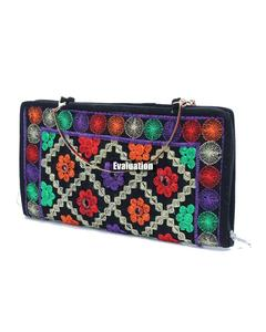 Stylish Embroidered Multicolor Ladies Hand Clutch With Metal Handle