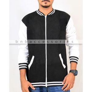 Black Cotton Fleece Zipper Baseball Jacket