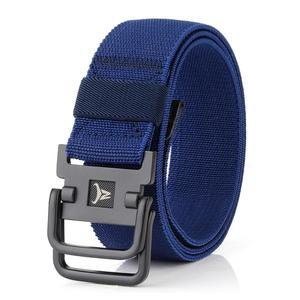 Outdoor Strategical Army Fan Double Ring Buckle Nylon Elastic Stretch Strong Belt Outdoors Lumbar Battle Molle Belts(Royal Blue)