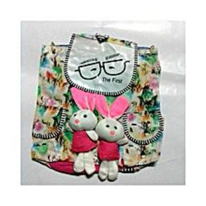 Living Style White and Green Bunny School Bag