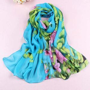 Women Soft Thin Chiffon Silk Scarf Flower printed Scarves Wrap Shawl