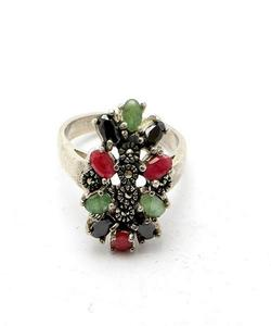 Emerald Sapphire and Ruby Stone Silver Ring GB(5)4390