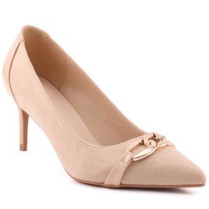 """Women """"Romily"""" Suede Platform Chain Buckle Patent Stiletto Court Shoes  L31754"""