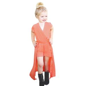 Summer Baby Girls Toddler Solid Clothes Party Jumpsuit Romper Dress
