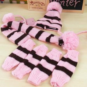 Pet Clothes Warm Three-piece Hat Elbow Scarf Teddy Bear Autumn And Winter