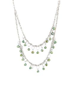 Fashion Inn Attitude Green & Silver Stainless Steel and Stones Necklace For Women