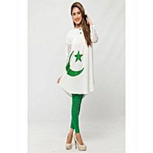 AH Collection Pakistan Green & White Cotton Independence Day Suit For Women