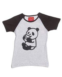 River Rock Black & Heather Grey Cotton Panda T-Shirt - 78611-7