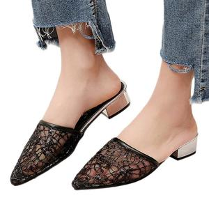 Women's Hollow Low Heel Sandals Breathable Sequins Lazy Single Shoes Casual Shoe