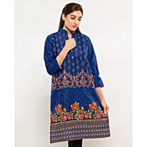FISH Navyblue Embroidered Kurta