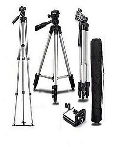 Tripod Stand For Dlsr Camera With Mobile Holder - Black & Silver