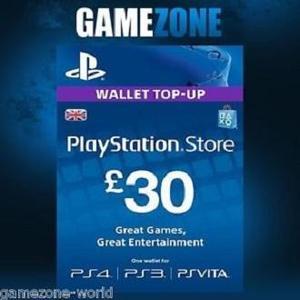 Sony PlayStation Gift Card - £30 UK REGION - PS4 - PS3 - PSVita