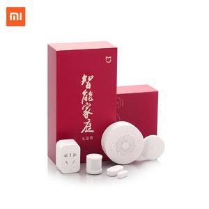 Xiaomi Smart Home Automation Mijia 5-in-1 Portable Kit, LED Gateway 2 Wi-Fi Switch Zigbee Sensor Socket White