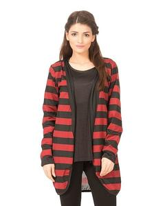Red & Black Polyester Shrug for Women