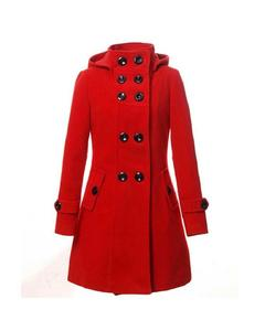 Red Button Long Coat For Women