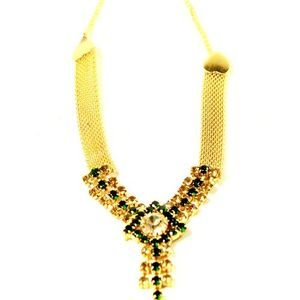 Golden Necklace with Green Stones