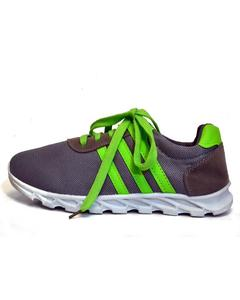 Grey With Green Strips Rubber Running Shoes For Men