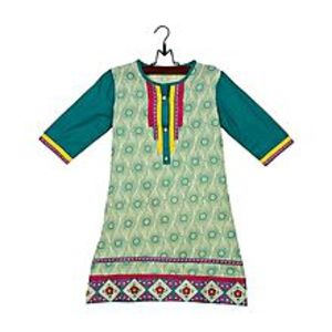 RizClickYellow Cotton Printed & Embroidered Kurta for Girls