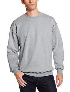Grey Plain Fleece Pullover Sweatshirt For Men