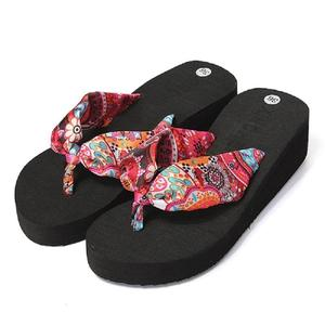 Fashion Women High-heeled Thick Flip Flops Sandal Beach Summer Slipper Shoes