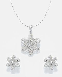 Anum Gold & Silver Jewellers New Classic 925 Sterling Silver Diamond Look Pendant & Earring Set For Women