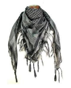Grey Cotton Shemagh Head Scarf